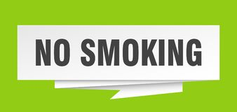 No smoking. Sign.  paper origami speech bubble.  tag.  banner royalty free illustration