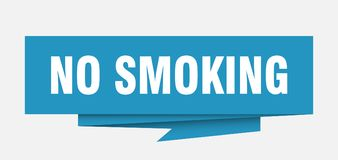 No smoking. Sign.  paper origami speech bubble.  tag.  banner stock illustration