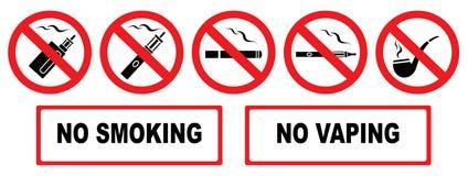 No smoking. No vaping. Set prohibition icons. Illustration of various prohibition signs. Iisolation. Vector royalty free illustration