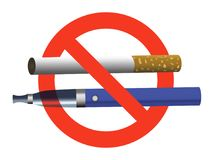 No smoking no vaping sign ban cigarette and electronic cigarette. Not allowed blue e-cigarette and cigarette in red circle realistic illustration stock illustration