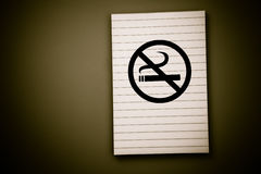 No smoking note pad Stock Photography