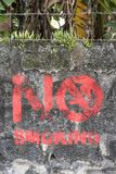 No Smoking painting on a bricks wall in Legazpi, the Philippines stock photo