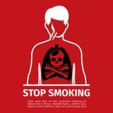 No Smoking poster. Man with skull and cross bones. No Smoking poster. Smoking man with skull and cross bones. Forbidden smoker, habit and addiction, vector Stock Photos