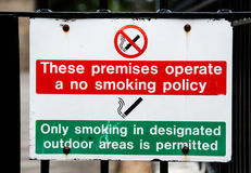 No smoking on premises. Sign for employees warning against smoking on premises, only smoking in designated outdoor areas is permitted Royalty Free Stock Images