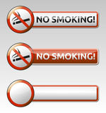 No smoking prohibition sign banner collection. Isolated  No smoking prohibition sign (symbol) collection with banner Stock Photography