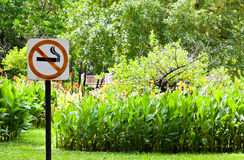No smoking in the public garden. Stock Image