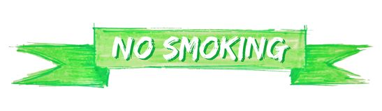No smoking ribbon. No smoking hand painted ribbon sign stock illustration