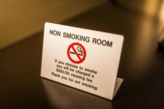 No smoking room sign warning with fee. Info Stock Images