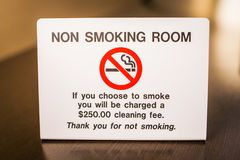 No smoking room sign warning with fee. Info Royalty Free Stock Image