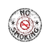 No smoking rubber stamp. Red grunge rubber stamp with the no smoking symbol in the middle of the stamp stock illustration