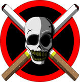 No smoking (scull and cigarettes) Stock Images