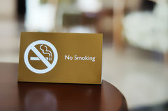 No smoking sign. Close-up of a no smoking sign and words in a restaurant (public zone royalty free stock photography