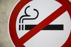 No Smoking Sign. Close-up of large no smoking sign at airport Stock Image