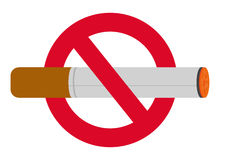 No smoking sign. Burning cigarette in no smoking sign; isolated on white background royalty free illustration