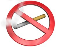 No smoking sign. A cigarette in a no smoking sign Stock Photo