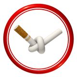 No smoking sign. Tied up a cigarette in a red circle on a white background Royalty Free Stock Images