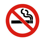 No Smoking Sign. Red Circle, Black Cigarette On A White Background Royalty Free Stock Image