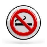 No smoking sign. Red sign smoking ban. 3d image. White background stock illustration
