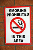 No Smoking Sign. Posted on Mental Health Hospital Wall Royalty Free Stock Images