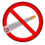 No smoking sign (AI format available). No smoking sign with large skull and bones on the cigar vector illustration