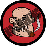 No smoking sign. Bald man with cigar no smoking sign Stock Photo