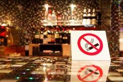 NO SMOKING sign on the bar. NO SMOKING sign on empty bar royalty free illustration