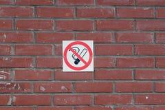 The no Smoking sign on the brick wall royalty free stock photo