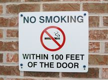 No Smoking Sign on a Brick Wall Royalty Free Stock Images