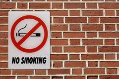 No smoking sign on brick wall Royalty Free Stock Image