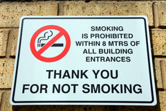 No smoking sign on a brick wall. Royalty Free Stock Image