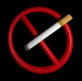 No smoking sign with cigarette on a black background Stock Images