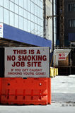 No Smoking Sign. At a construction site in NYC Stock Photos