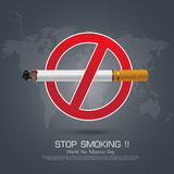 No smoking sign on Dark background for World No Smoking Day Royalty Free Stock Photography