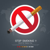No smoking sign on Dark background for World No Smoking Day Stock Photos