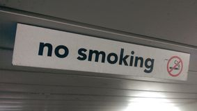 No smoking sign. On the ferry royalty free stock image