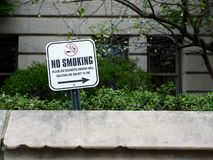Outdoor No Smoking Sign in Front of Building Royalty Free Stock Photo