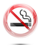 No smoking sign in the glossy glass Royalty Free Stock Images