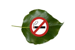 No smoking sign on green leaf Stock Photos