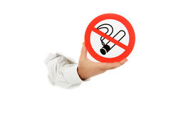 No smoking sign, hand. Royalty Free Stock Photography