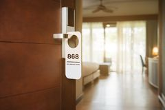 No smoking sign on a hotel room electronic door lock royalty free stock image