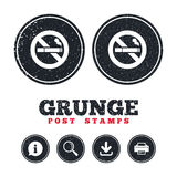 No Smoking sign icon. Cigarette symbol. Grunge post stamps. No Smoking sign icon. Cigarette symbol. Information, download and printer signs. Aged texture web stock illustration