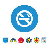 No Smoking sign icon. Cigarette symbol. Information, Report and Speech bubble signs. Binoculars, Service and Download icons. Vector Royalty Free Stock Image