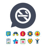No Smoking sign icon. Cigarette symbol. Information, Report and Speech bubble signs. Binoculars, Service and Download, Stars icons. Vector Stock Photography