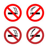 No smoking sign icons set Stock Images