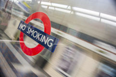 No smoking sign in metro station Royalty Free Stock Photography
