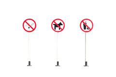 No smoking Sign, No Dogs or No Pets Allowed in This Area ,No fas Stock Photo