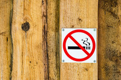No smoking sign on old wooden wall Stock Images