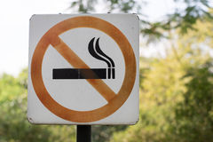 No smoking Sign in the Park Royalty Free Stock Images