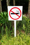 No smoking sign in park Stock Photography