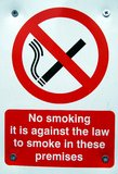 No smoking sign. No smoking in these premises sign Royalty Free Stock Photo